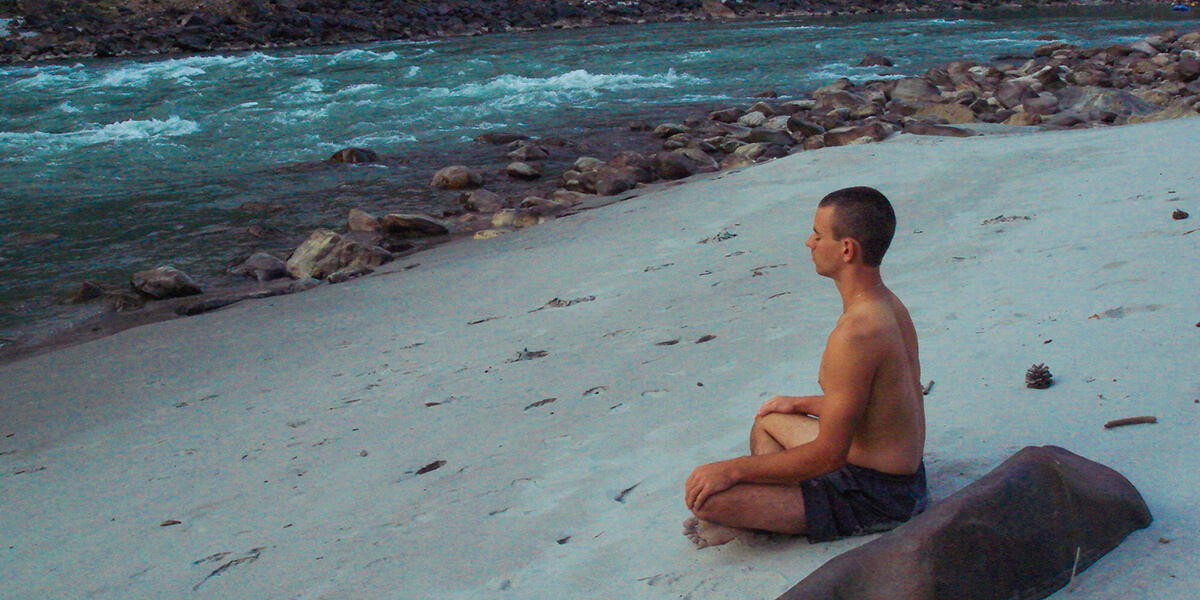 Meditating by the Ganges, Rishikesh, India