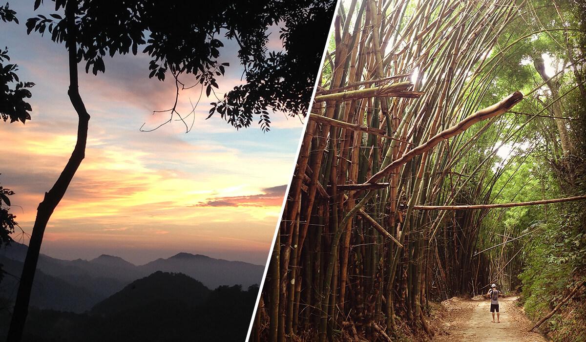 Sunset overlooking the Sierra Nevada de Santa Marta and walking the trail to La Victoria coffee plantation, Minca, Colombia